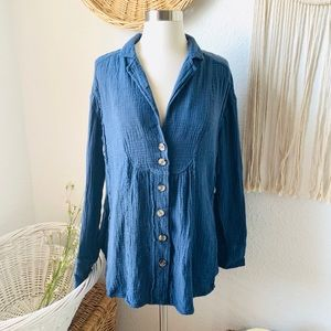 Free people All About The Feels Buttondown Top